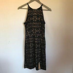 Bisou Bisou Black & Nude High Neck Cami Dress